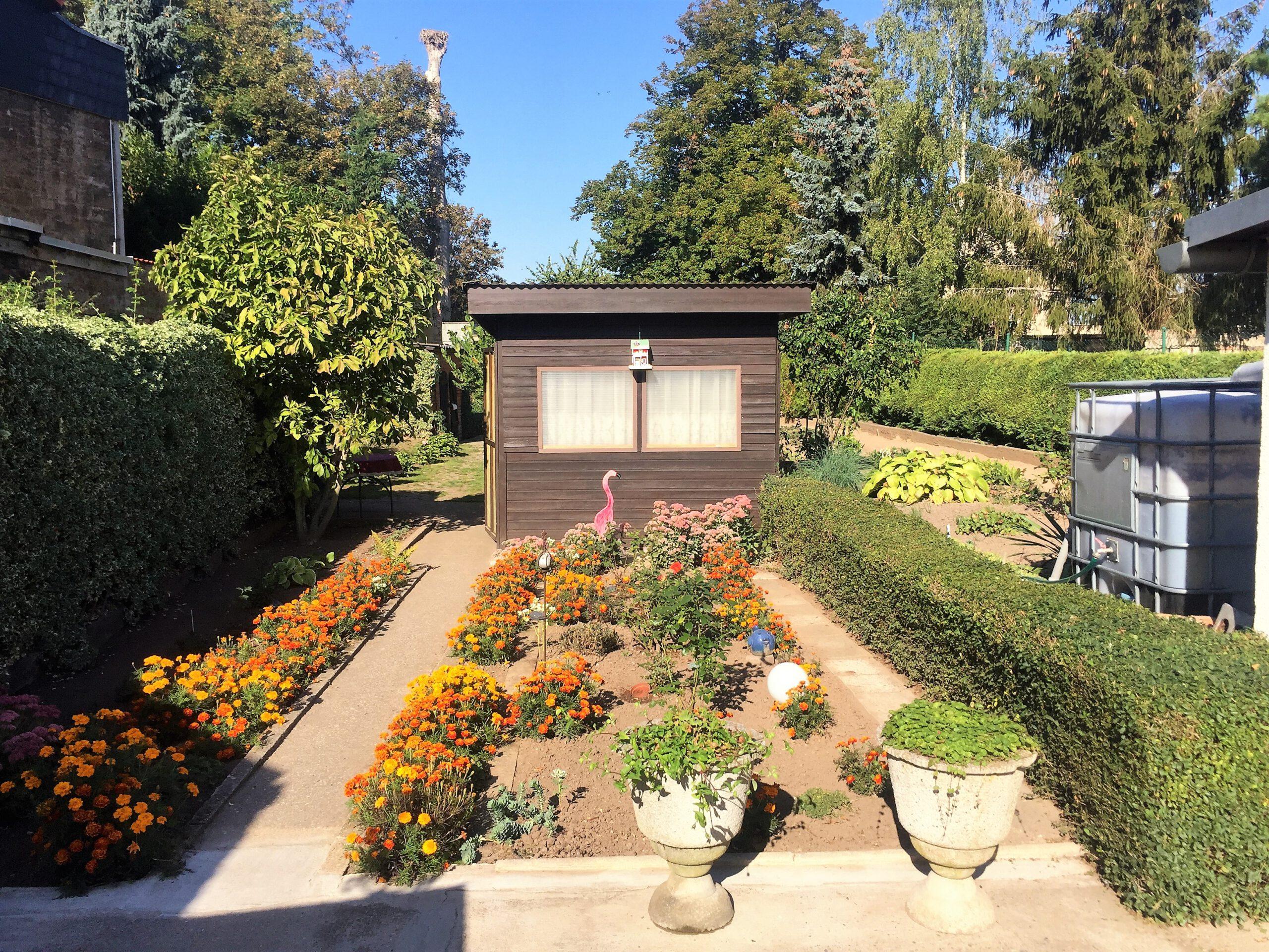 Einfamilienhaus in Gnölbzig - Blick zum Gartenhäuschen
