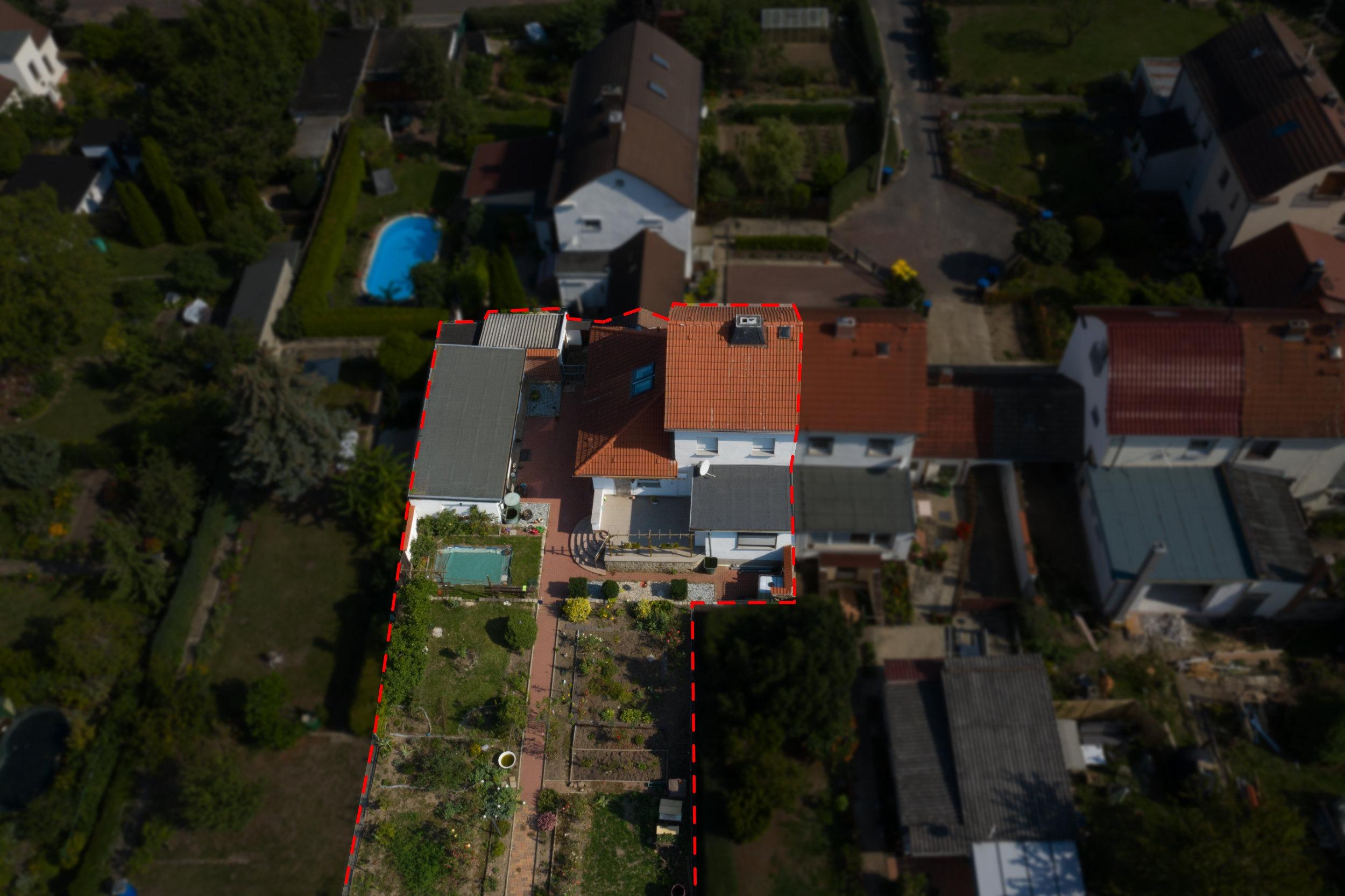 Einfamilienhaus Ellernstraße - Luftbildaufnahme hinten