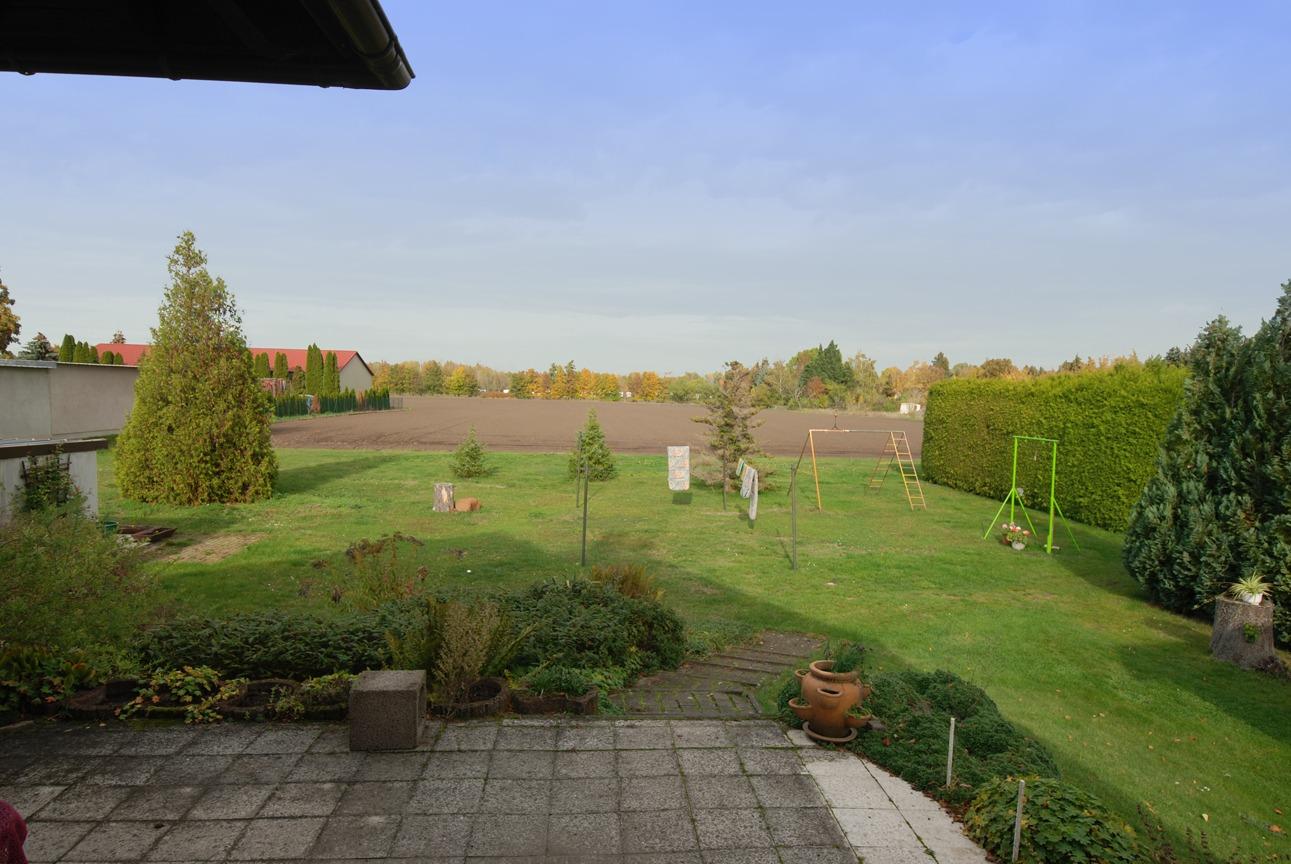 Einfamilienhaus auf dem Dautzsch - Blick von der Terrasse in den Garten